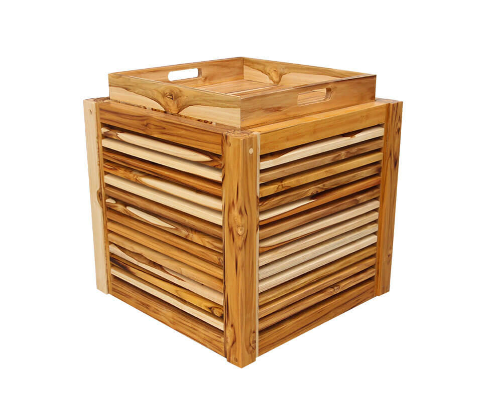 Teak Cube With Tray